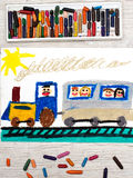 Drawing: train with smiling passengers Royalty Free Stock Photos