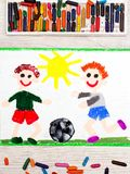 Drawing :Two little boys play football. Soccer game. Photo of colorful drawing : Two little boys play football. Soccer game Royalty Free Stock Photography