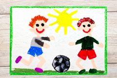 Drawing :Two little boys play football. Soccer game. Photo of colorful drawing :Two little boys play football. Soccer game Stock Images