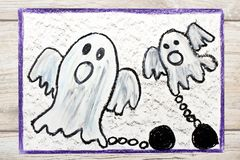 Drawing: Two scary ghost with chains. Photo of colorful drawing: Two scary ghost with chains stock photography