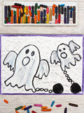 Drawing: Two scary ghost with chains. Photo of colorful drawing: Two scary ghost with chains royalty free stock photography