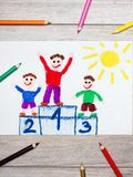 Drawing: winners on the podium. Photo of colorful drawing: winners on the podium stock photography