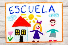 Drawing: Word SCHOOL, school building and happy children. First day at school. Stock Images