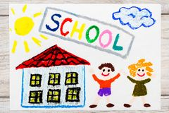 Drawing: Word SCHOOL, school building and happy children. First day at school. Royalty Free Stock Photo