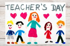 Drawing: Words TEACHERS DAY, teacher and happy children. Photo of colorful drawing: Words TEACHERS DAY, teacher and happy children Stock Image