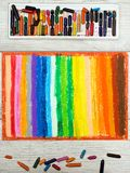 Colorful drawing and oil pastels crayons, texture for background. Photo of colorful oil pastels drawing texture for background Stock Images
