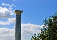 The  column and the blue sky. Photo of a column in a garden - Póvoa de Santa Iria - Vila Franca de Xira - Portugal - March 2017 Stock Image