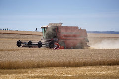 Photo of combine harvester that is harvesting wheat with dust straw in the air. Stock Photography