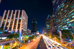 Photo of commercial office buildings exterior. Night view at bot Royalty Free Stock Photo