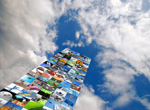 Photo compilation. Compilation of various photographs over cloudy blue sky Stock Image