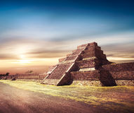 Photo Composite of Aztec pyramid, Mexico Royalty Free Stock Images