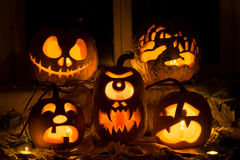 Photo composition from five pumpkins for Halloween. Stock Image