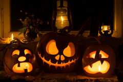 Photo composition from three pumpkins on Halloween. Crying, Jack Stock Photography