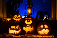Photo composition from three pumpkins on Halloween Royalty Free Stock Images
