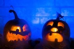 Photo composition from two pumpkins on Halloween. Royalty Free Stock Photos