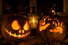 Photo composition from two pumpkins on Halloween Stock Photography