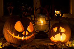 Photo composition from two pumpkins on Halloween. Stock Photography
