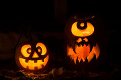Photo composition from two pumpkins on Halloween. Royalty Free Stock Image