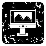 Photo on computer monitor icon, grunge style Royalty Free Stock Images
