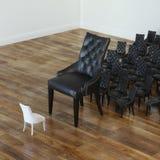 Photo conceptuelle de beaucoup de chaises en cuir noires et de blanc une Images stock