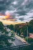 Photo of Concrete Road With Gray Clouds royalty free stock photos