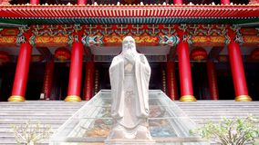 Confucius statue with chinese historic traditional architecture background. Photo of confucius statue with chinese historic traditional architecture background stock images