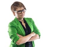 Photo of confused woman in green jacket. On white background Royalty Free Stock Images