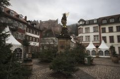 Heidelberg / Germany - January 1 - 2016 : Marketplace at New`s year Day at Heidelberg stock images