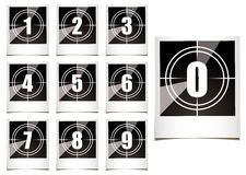 Photo countdown. Collection of instant photographs with film type count down numbers Stock Images