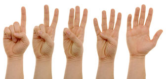 A photo of counting hands with clipping paths Stock Photos