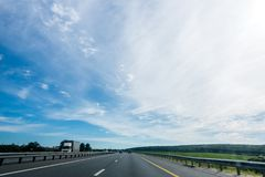 Photo of country road with cars Royalty Free Stock Photos