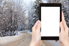 Photo of country road in snowy russian forest Royalty Free Stock Photo