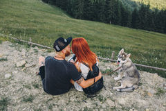 Photo of a couple in the mountains Stock Photo