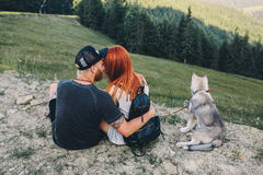 Photo of a couple in the mountains Royalty Free Stock Image