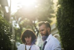 Photo of Couple Wearing White Shirts royalty free stock images