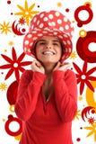 Photo courante d'un jeune joli femme avec le chapeau rouge Image libre de droits