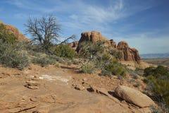 Photo courante de formation de roche rouge, stationnement national de voûtes Images libres de droits