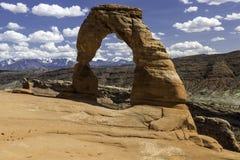 Photo courante de formation de roche rouge, stationnement national de voûtes Image libre de droits
