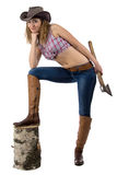 Photo of cowgirl with the axe. On white background Royalty Free Stock Image