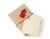 Photo of craft gift box and greeting card with space for text. Christmas, New Year holiday background Stock Photos
