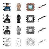Photo of the criminal, a bandit in a mask, jailbreak, bloody knife. A crime set collection icons in cartoon black Royalty Free Stock Photography