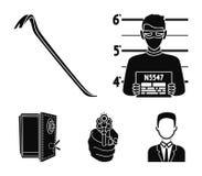 Photo of criminal, scrap, open safe, directional gun. Crime set collection icons in black style vector symbol stock. Illustration stock illustration