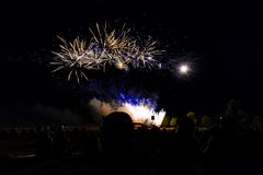 Photo of Crowd Looking at Fireworks Display stock photo