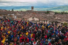 Photo of crowd in the square of Gubbio for the famous festa dei ceri, Umbria. Italy Royalty Free Stock Photo