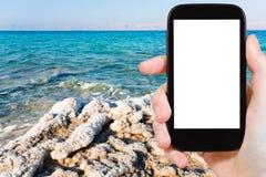 Photo of crystalline coastline of Dead Sea, Jordan Stock Photos