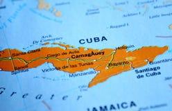 A photo of Cuba on a map stock photos