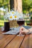 Photo cultivée des femmes s'asseyant dehors en vin potable de parc Photo stock