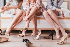 Photo cultivée des robes de port attrayantes des filles 20s de mode photo libre de droits