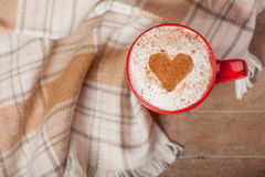 Photo of cup of coffee and tablecloth on the wonderful brown  Stock Photo