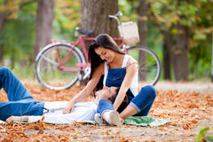 Photo of cute couple hugging on the wonderful autumn park backgr Royalty Free Stock Images